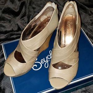 NWOT Genuine leather platform wedge sandals